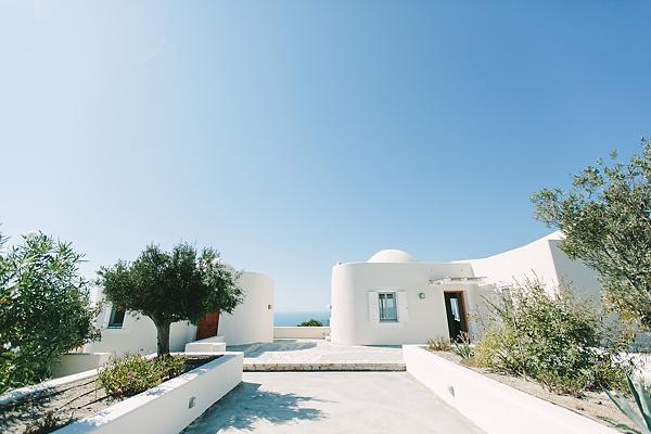Santorini small white houses in megalochori village