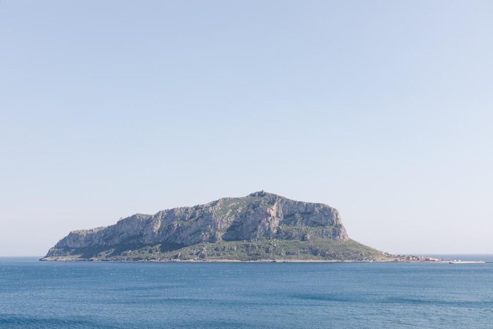 Monemvasia castle rock landscape photograph. Blue sea and the Monemvasia rock.