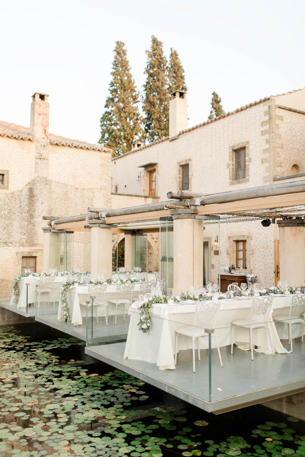 Kinsterna hotel wedding venue in Greece with water lily pond