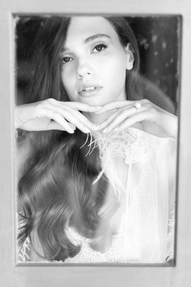 Black and white bridal boudoir photographer Greece.